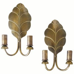 Pair of French Brass Leaf Sconces