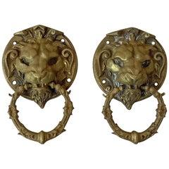 Pair of French Brass Lion Heads Door Knocker, circa 1880