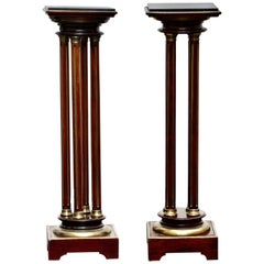 Pair of French Brass Mounted Rosewood Pedestals