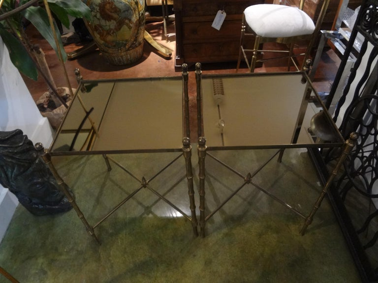 Pair of French Brass Tables in the Manner of Maison Jansen For Sale 5