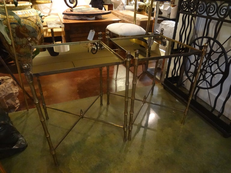 Hollywood Regency Pair of French Brass Tables in the Manner of Maison Jansen For Sale