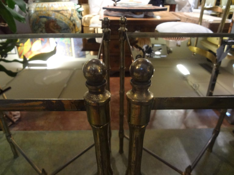 Pair of French Brass Tables in the Manner of Maison Jansen In Good Condition For Sale In Houston, TX