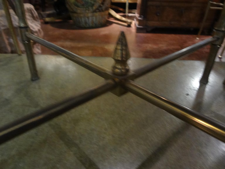 Mid-20th Century Pair of French Brass Tables in the Manner of Maison Jansen For Sale