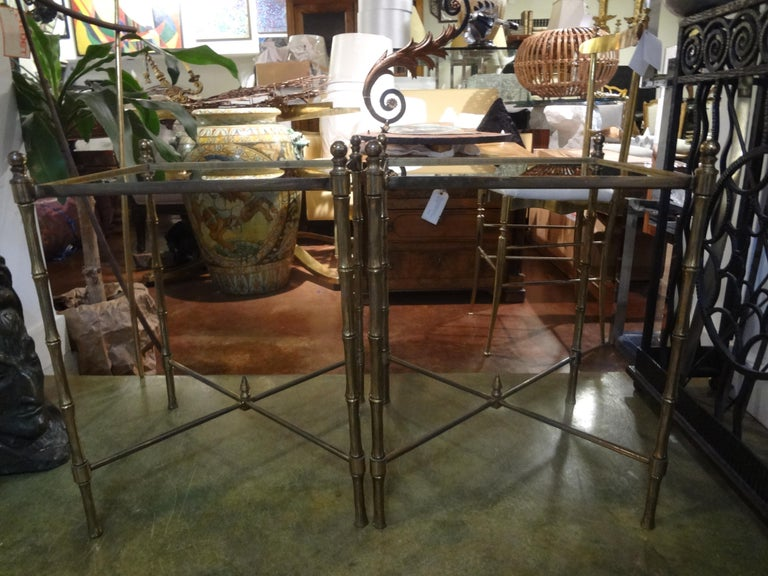 Pair of French Brass Tables in the Manner of Maison Jansen For Sale 4