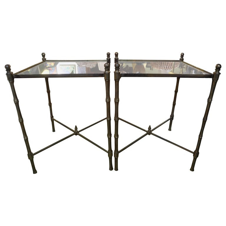 Pair of French Brass Tables in the Manner of Maison Jansen For Sale