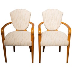 Pair of French Bridge Chairs with Beech Frames and New Upholstery