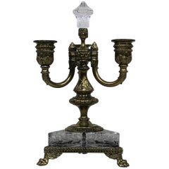 Pair of French Bronze 3-Arm Candelabras with Paw Feet and Etched Glass Base
