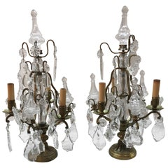 Pair of French Bronze and Crystal 3-Light Girandoles