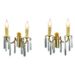 Pair of French Bronze and Crystal Twin Arm Wall Sconces Wall Lights