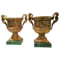 Pair of French  Bronze and Malachite Signed Barbedienne Vases