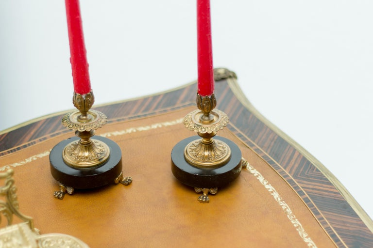 Pair of French Bronze and Marble Candlesticks 10