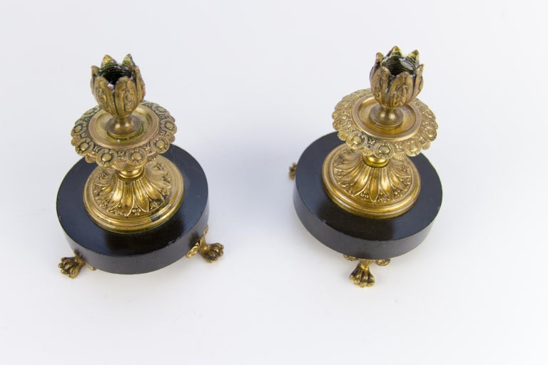 Pair of French Bronze and Marble Candlesticks 2