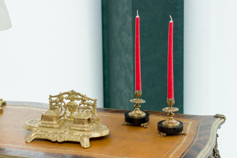 Pair of French Bronze and Marble Candlesticks 5