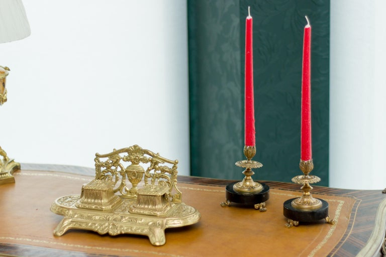 Pair of French Bronze and Marble Candlesticks 6