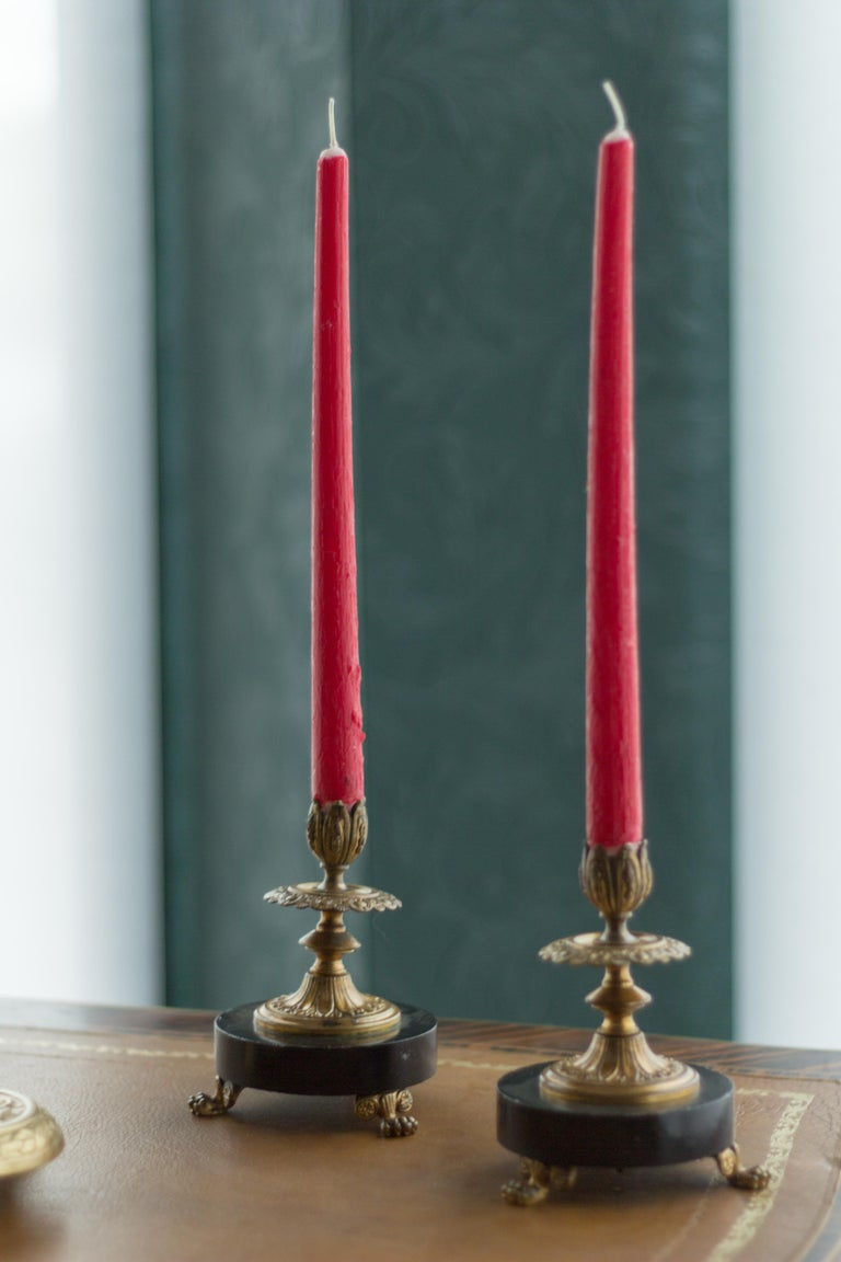 Pair of French Bronze and Marble Candlesticks 8