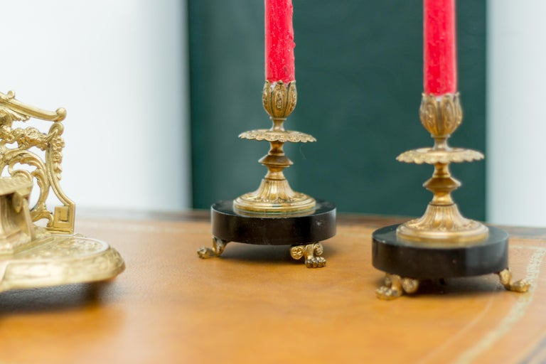 Pair of French Bronze and Marble Candlesticks 9