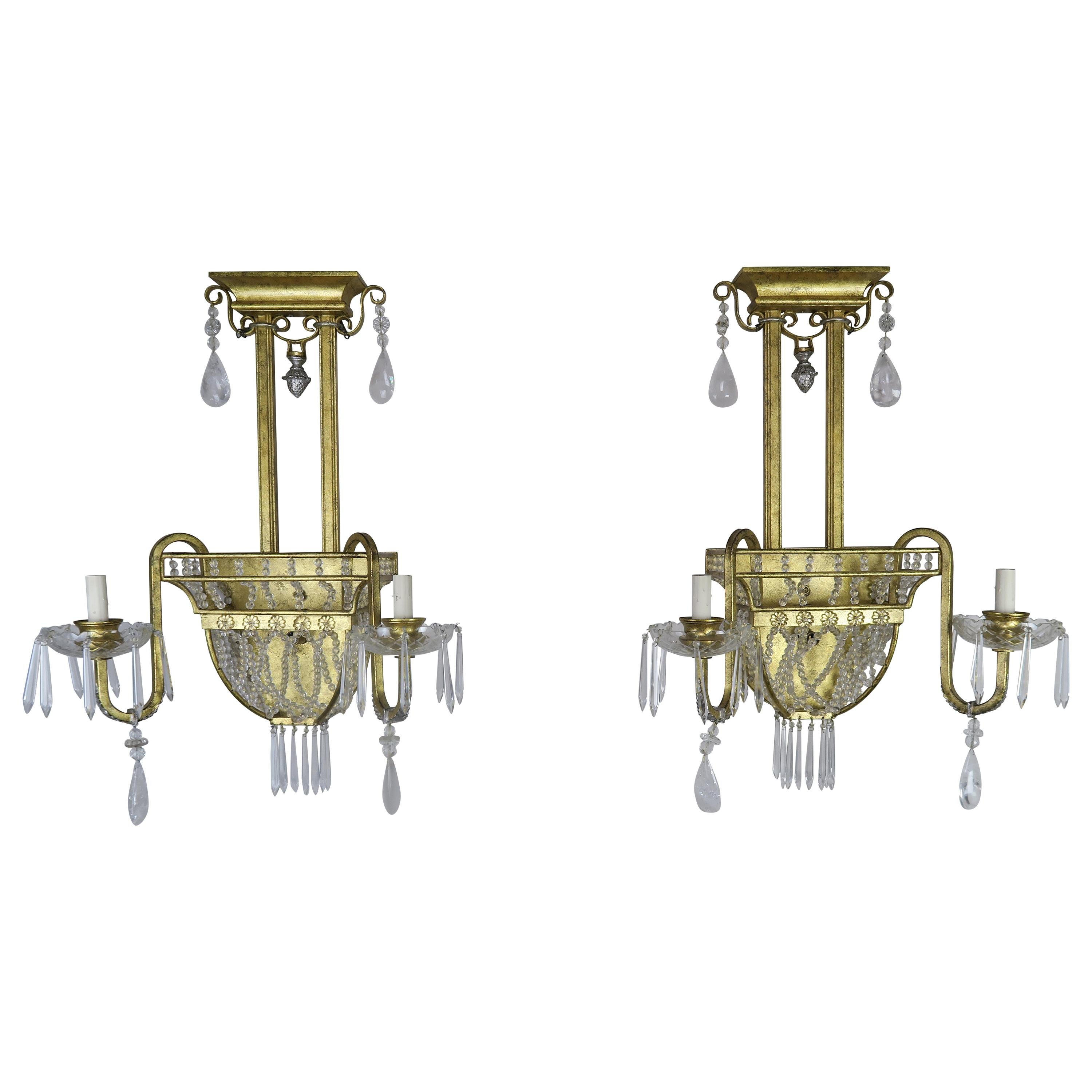 Pair of French Bronze and Rock Crystal 2-Light Sconces
