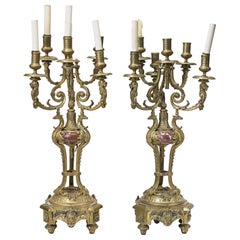 Pair of French Bronze and Rouge Marble Candelabra, 19th Century