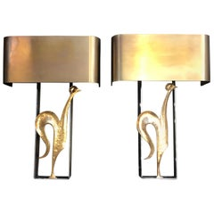 Pair of French Bronze and Steel Wall Lights by Maison Charles