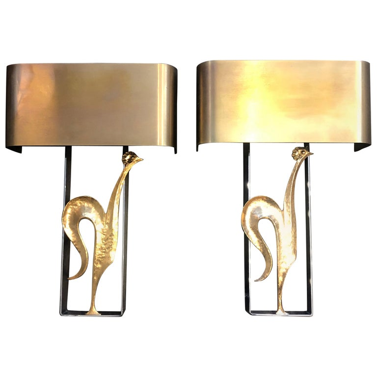 Pair Of Simple Church Lights For Sale: Pair Of French Bronze And Steel Wall Lights By Maison