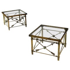 Pair of French Bronze Arrow Side Tables with Glass Tops
