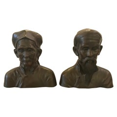 Pair of French Bronze Busts of an Elderly Chines Couple