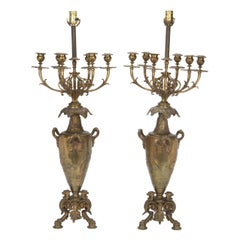 Pair of French Bronze Candelabra Lamps, Early 20th Century