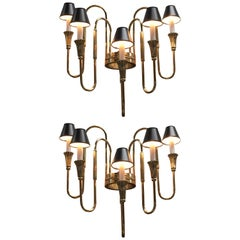 "Pair of French Bronze Candelabra Sconces in the ""Empire"" Style"