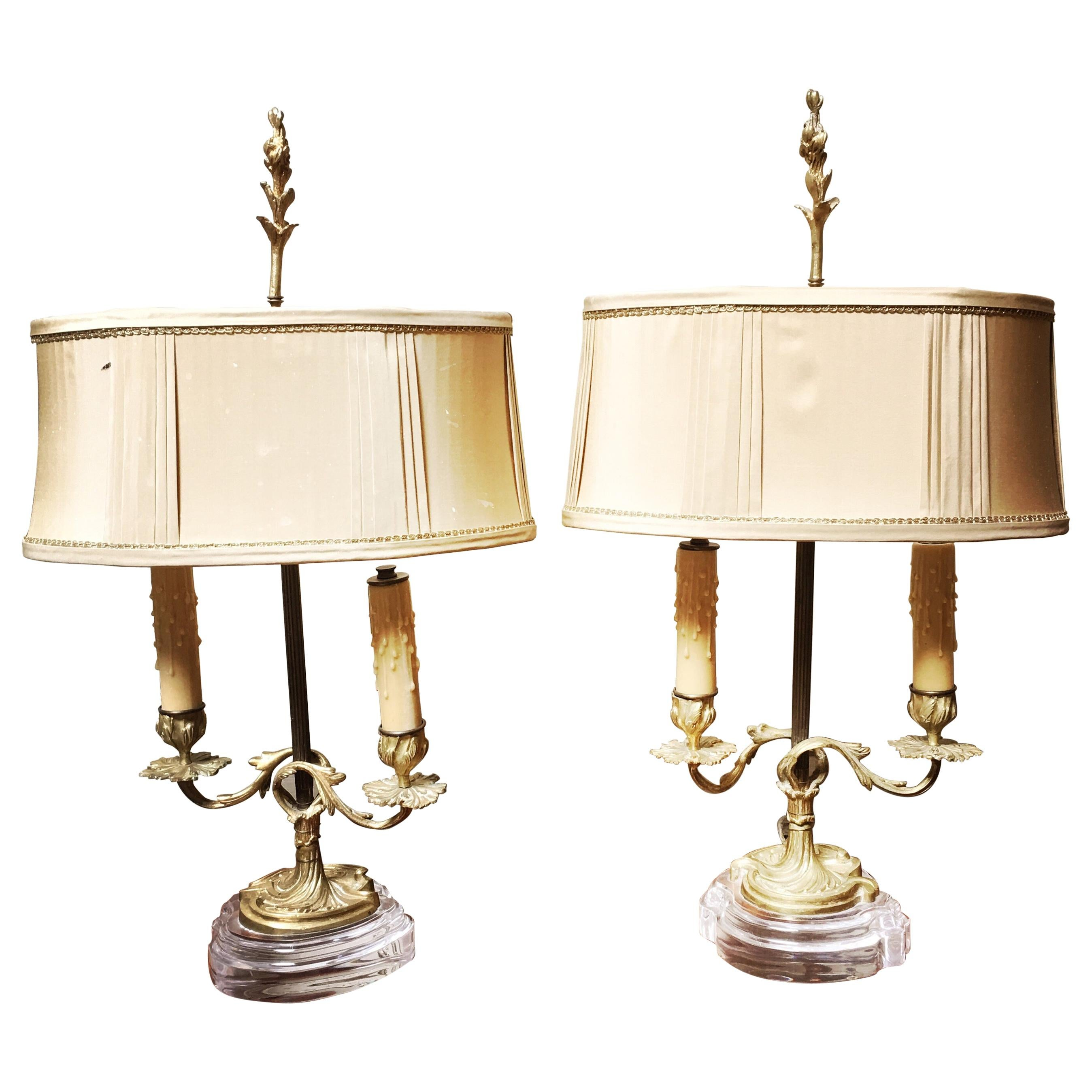 Pair of French Bronze Candlestick Lamp Bases with Acrylic Bases