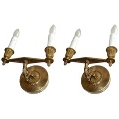 Pair of French Bronze Empire Wall Sconces