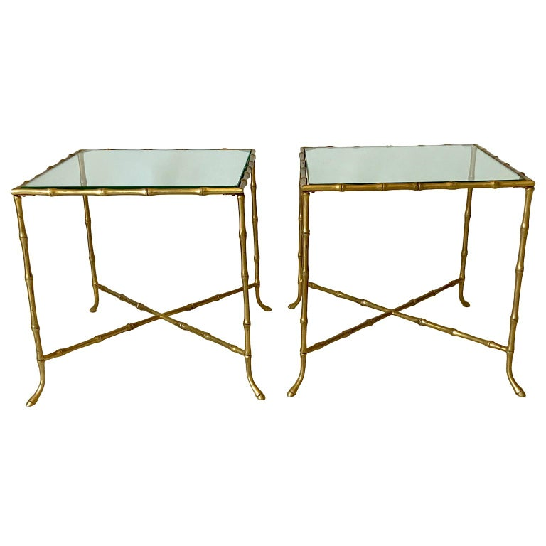 Mid-Century Modern Pair Of French Faux Bamboo Maison Bagues Side Tables For Sale