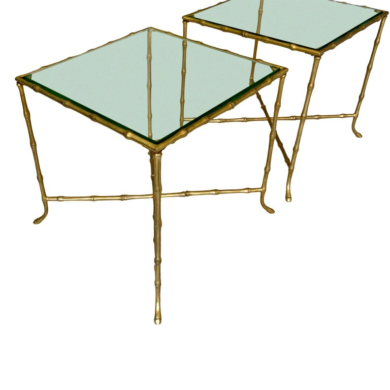 Pair of French bronze faux bamboo Maison Bagues cocktail side tables.