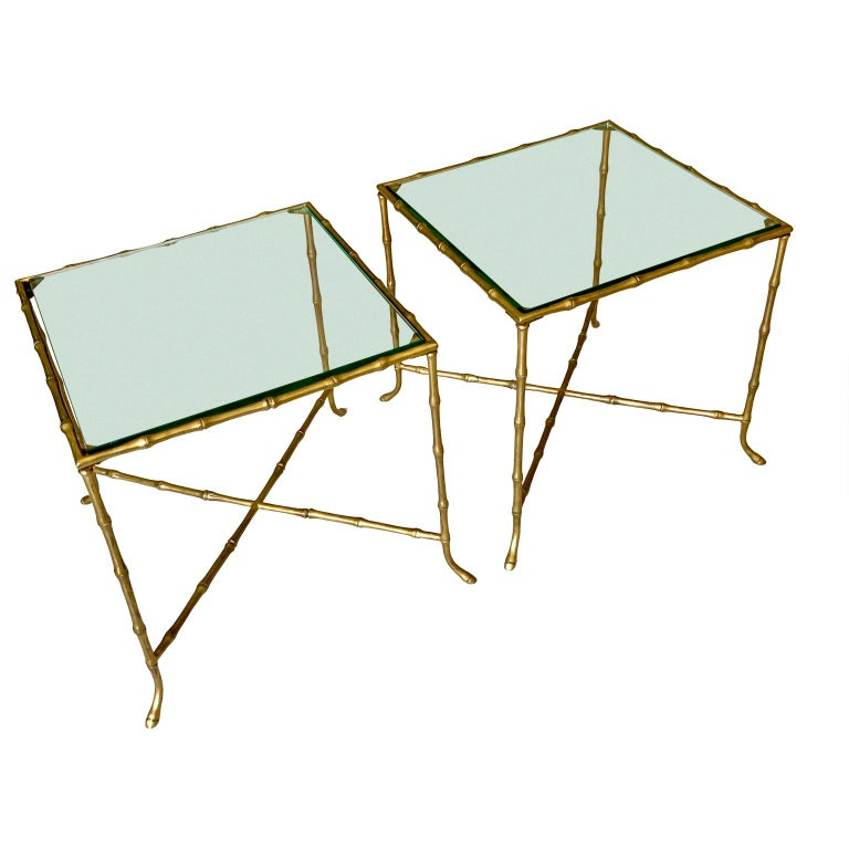 Pair Of French Faux Bamboo Maison Bagues Side Tables In Good Condition For Sale In Haddonfield, NJ