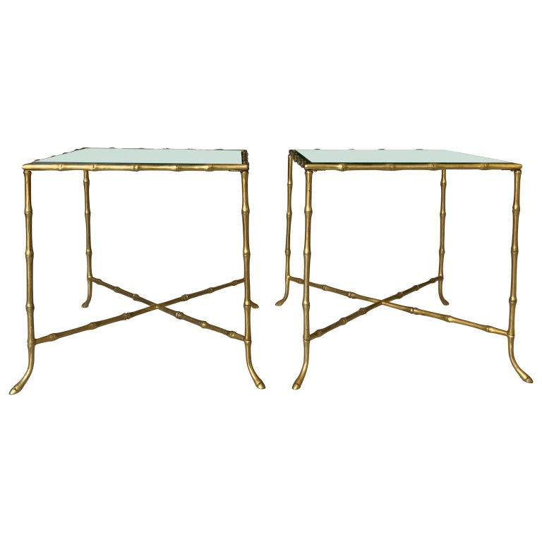 20th Century Pair Of French Faux Bamboo Maison Bagues Side Tables For Sale