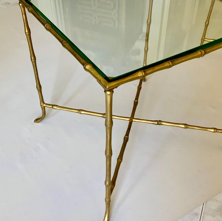 Bronze Pair Of French Faux Bamboo Maison Bagues Side Tables For Sale