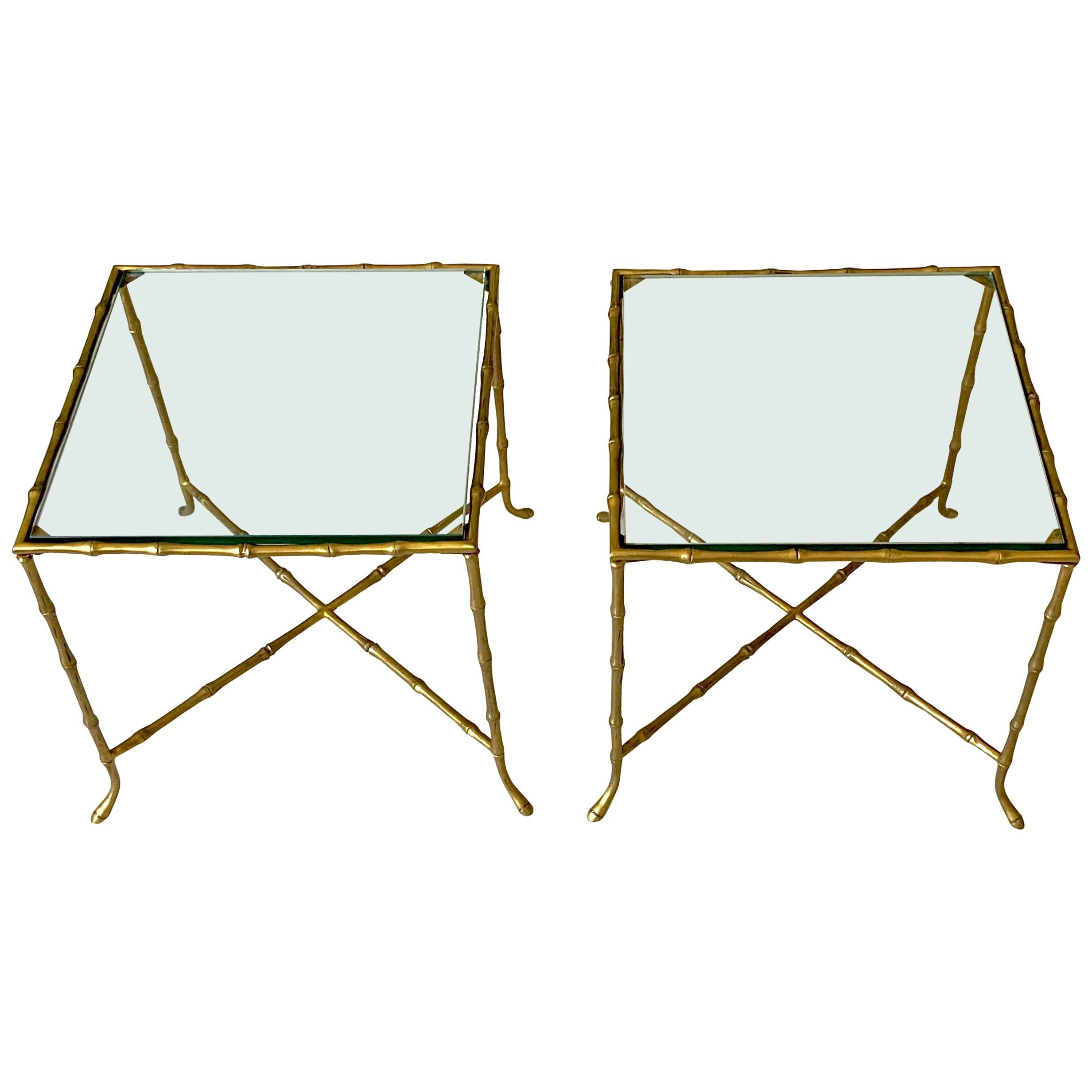 Pair Of French Faux Bamboo Maison Bagues Side Tables