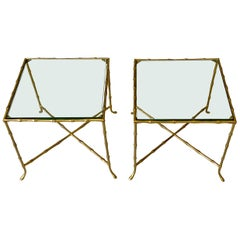 Pair of French Bronze Faux Bamboo Maison Jansen Cocktail Side Tables