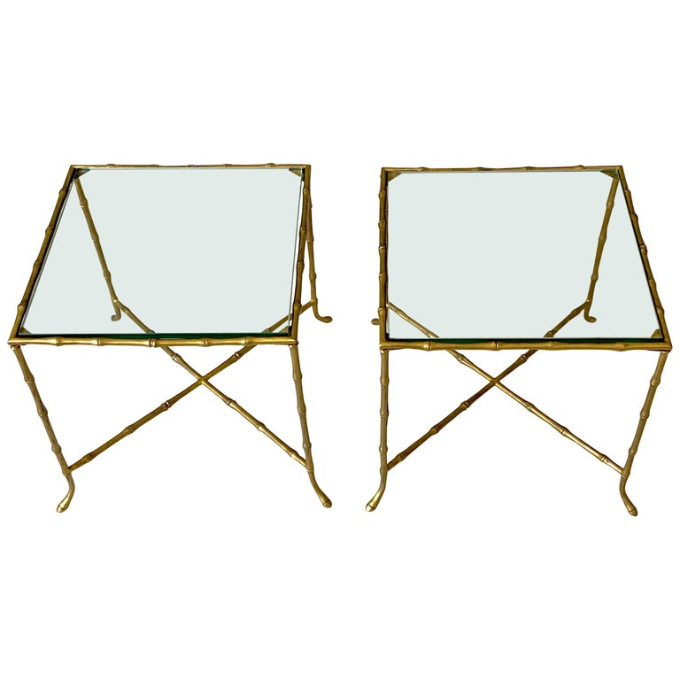 Pair Of French Faux Bamboo Maison Bagues Side Tables For Sale