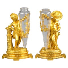Pair of French Bronze Figural and Glass Vases, circa 1880