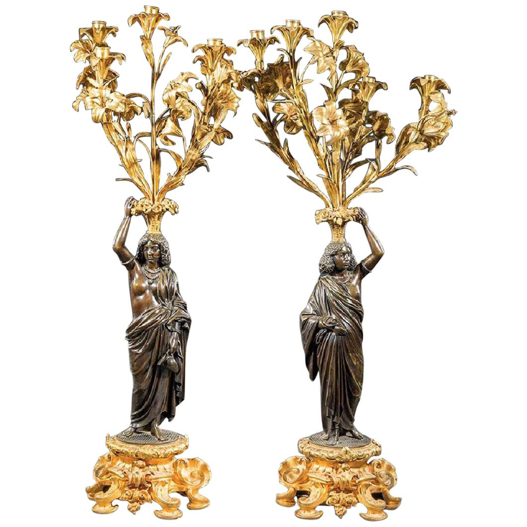 Pair of French Bronze Figural Candelabra, 19th Century