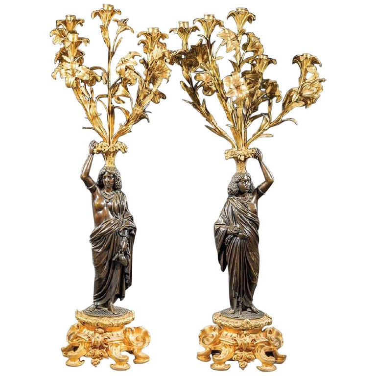 Pair of French Bronze Figural Candelabra, 19th Century For Sale