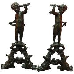 Pair of French Bronze Figural Cherub Andirons, 19th Century