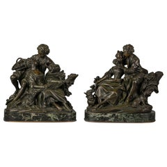 Pair of French Bronze Figural Groups of the Grape Eaters and the Flute Lesson