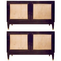 Pair of French Bronze-Inlaid Ebonized Parchment Cabinets