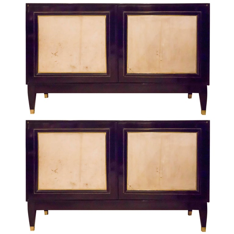 Pair of French Bronze-Inlaid Ebonized Parchment Cabinets For Sale