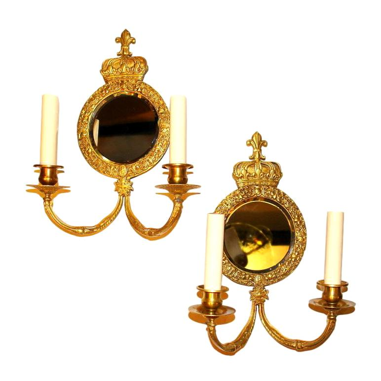 Pair of French Bronze Mirror Back Sconces