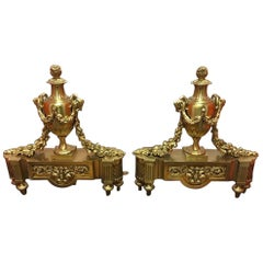 Pair of French Bronze Ram's Head Chenets, 19th Century