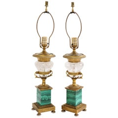 Pair of French Bronze, Rock Crystal and Malachite Lamps