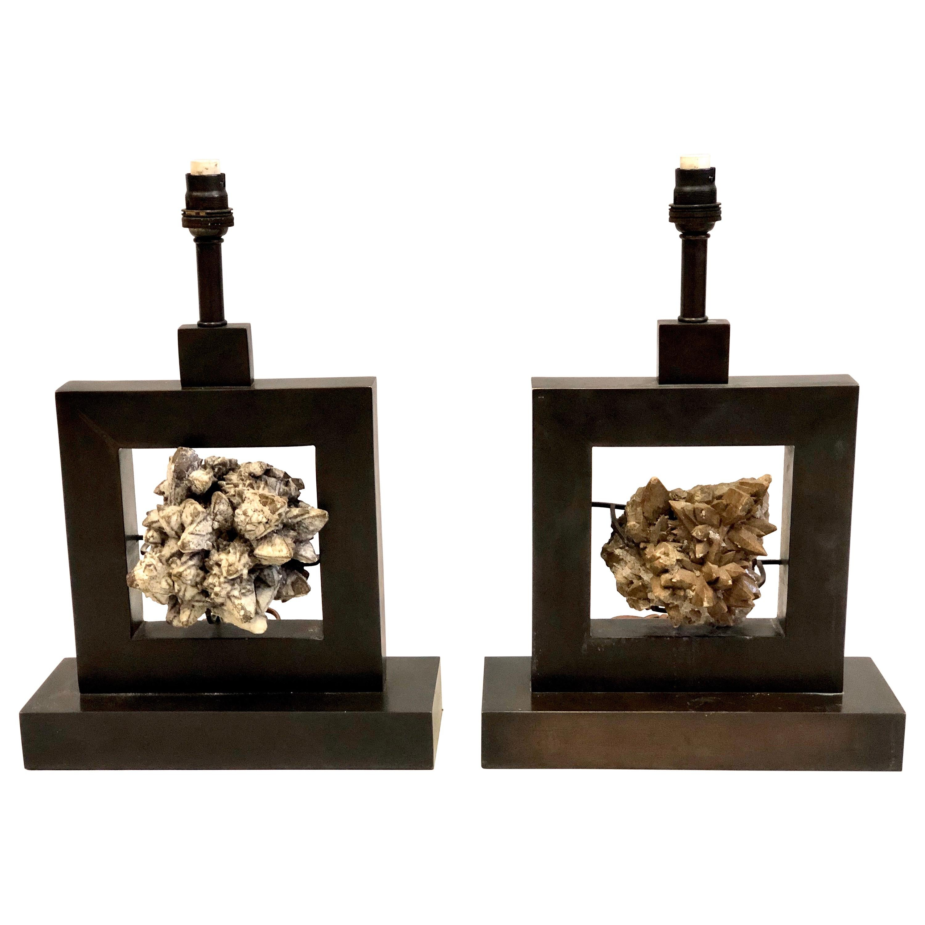 Pair of French Bronze & Rock Crystal Mineral Geode Table Lamps, Marc Du Plantier