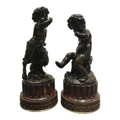 "Pair of French Bronze Sculptures of a Nymph and Satyr Signed ""Clodion"""